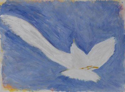 seagull, painting, sky, flight