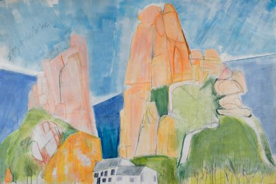 Cornwall, sea, rocks, landscape, painting, cliffs