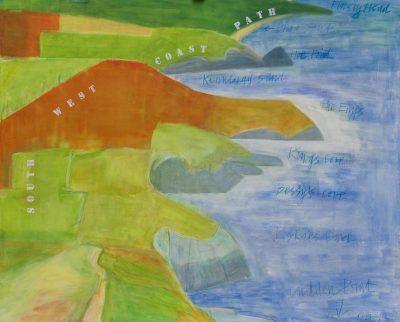 Cornwall, Prussia Cove, Landscape painting, sea, footpaths, coastal paths, cliffs