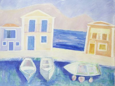 boats, sea, buildings, Symi, Greece, oil painting