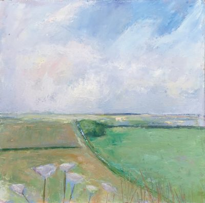 cornwall, landscape, oil painting, fields, farmland