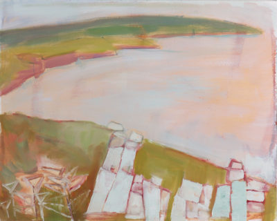 Rinsey, landscape, cornwall, painting, rocks, sea coastal path