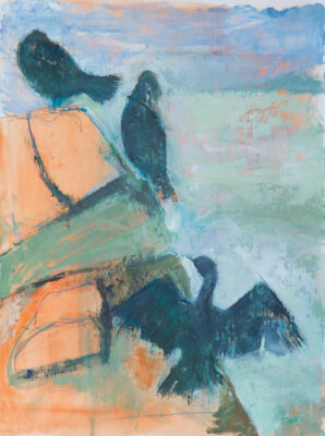 cormorants, cornwall, carleon, poltesco, landscape, sea, cliffs, artist, painter