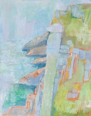 cornwall, coastal path, rocks, sea, cliffs, landscape artist